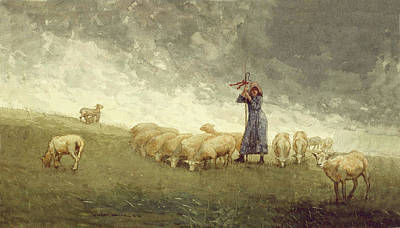 Staff Painting - Shepherdess Tending Sheep Winslow Homer 1878 by Movie Poster Prints