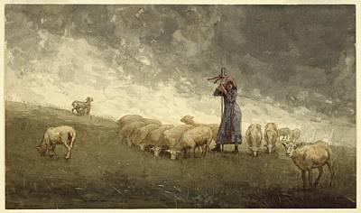 Shepherdess Tending Sheep Art Print by MotionAge Designs