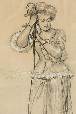The Shepherdess Drawing - Shepherdess by Winslow Homer