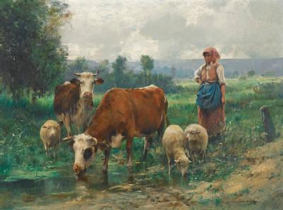 Shepherdess With Her Flock Art Print by Julien Dupre