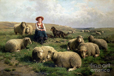 Dog In Landscape Painting - Shepherdess With Sheep In A Landscape by C Leemputten and T Gerard