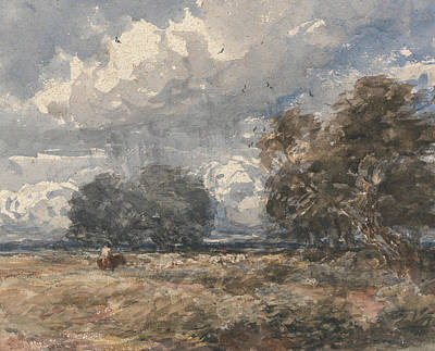 Painting - Shepherding The Flock, Windy Day by David Cox