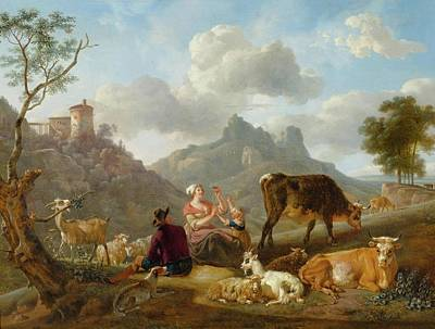 Sky Painting - Shepherds And Sheep In A Mountainous Landscape by MotionAge Designs