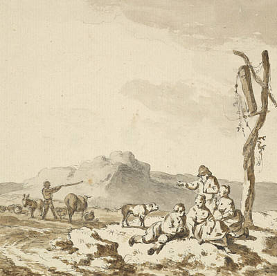 Drawing - Shepherds At Rest by Ferdinand Kobell
