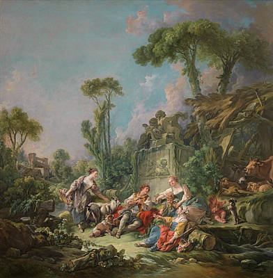 Cattle Dog Painting - Shepherd's Idyll by Francois Boucher