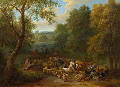 Clearing Painting - Shepherds In A Forest Clearing. by Celestial Images
