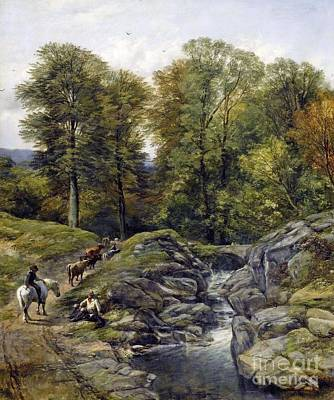 Shepherds Next To A Brook Art Print by MotionAge Designs