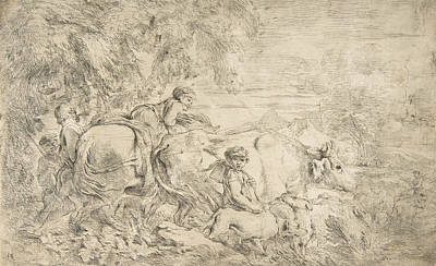 Relief - Shepherds With Their Flock by Giovanni Benedetto Castiglione