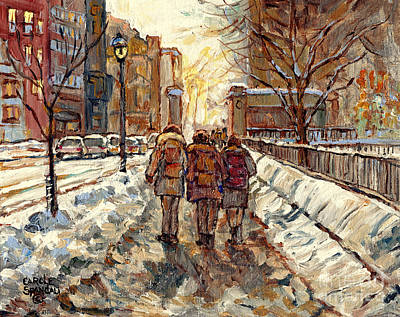 Painting - Sherbrooke Street Winter Scene Painting Mcgill Roddick Gates Canadian Art For Sale C Spandau Artist by Carole Spandau