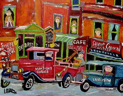 Painting - Sherbrooke Taverne St. Catherine Street East 1942 by Michael Litvack