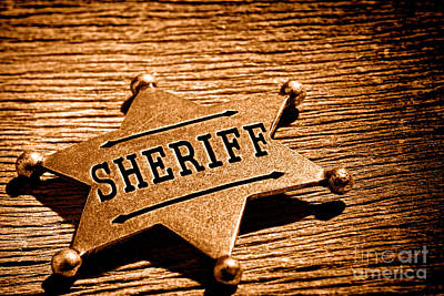 Lawman Photograph - Sheriff Badge - Sepia by Olivier Le Queinec