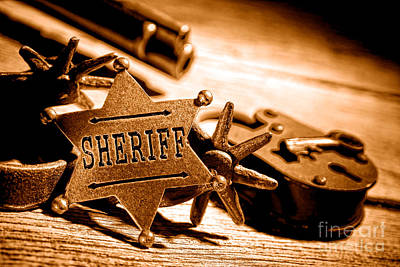Medallion Photograph - Sheriff Tools - Sepia by Olivier Le Queinec