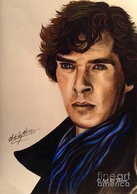 Drawing - Sherlock by Art By Three Sarah Rebekah Rachel White