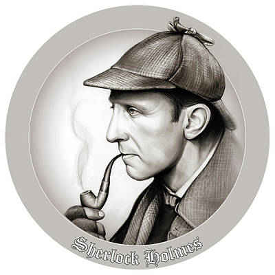 Mixed Media Royalty Free Images - Sherlock Holmes Royalty-Free Image by Greg Joens