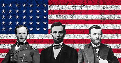 Us Flag Mixed Media - Sherman - Lincoln - Grant by War Is Hell Store