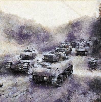 Churchill Painting - Sherman Tanks Pass A Column Of Churchills As They Advance Towards Vassy by Esoterica Art Agency