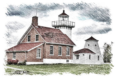 Nikki Vig Royalty-Free and Rights-Managed Images - Sherwood Point Lighthouse Sketch by Nikki Vig