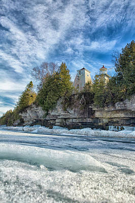 Nikki Vig Royalty-Free and Rights-Managed Images - Sherwood Point Lighthouse Winter Door County by Nikki Vig