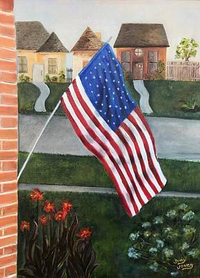 Landmarks Painting Royalty Free Images - Shes A Grand Old Flag Royalty-Free Image by Judy Jones