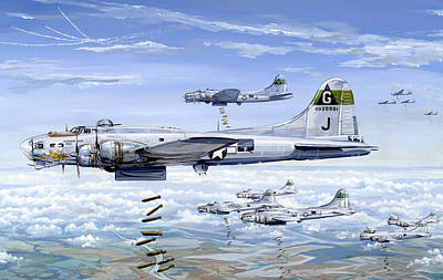 B-17 Wall Art - Painting - She's A Honey 1 by Charles Taylor