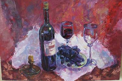 Glass Of Wine Painting - She's Doesn't Come by Suzanna Rudneva