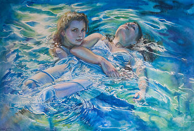 Floating Girl Painting - She's Not Heavy by Gilly Marklew