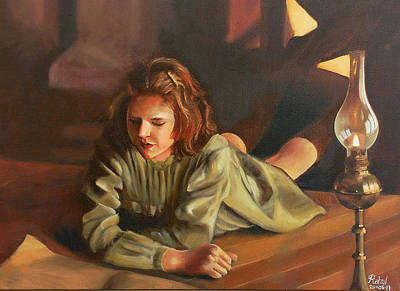 Night Lamp Painting - Shes Reading by Rahul Nambiar