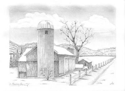 Old Barn Drawing - Sullivan County Farm by Kerry Facey