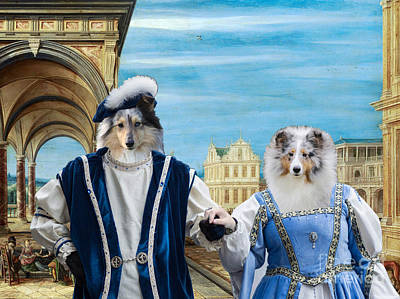 Painting - Shetland Sheepdog Art Canvas Print - A Square With Imaginary Buildings And Royal Couple by Sandra Sij