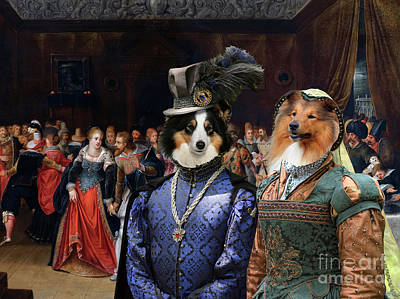 Painting - Shetland Sheepdog Art Canvas Print -  An Interior Scene With Elegant Figures At A Wedding by Sandra Sij