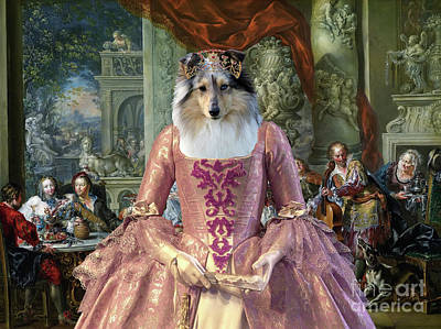 Painting - Shetland Sheepdog Art Canvas Print - Concert In The Palace by Sandra Sij