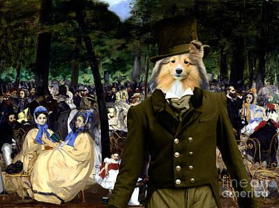 Painting - Shetland Sheepdog Art Canvas Print - Music In The Tuileries Gardens by Sandra Sij