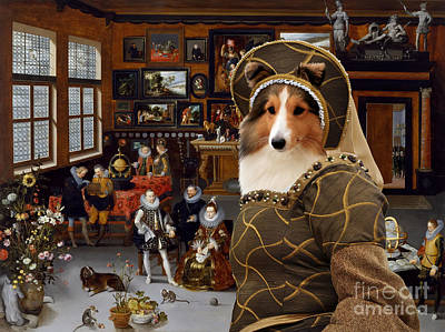 Painting - Shetland Sheepdog Art Canvas Print - The Archdukes Albert And Isabella Visiting A Collector's Cabine by Sandra Sij