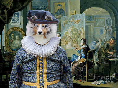 Painting - Shetland Sheepdog Art Canvas Print - The Painter And His Studio by Sandra Sij