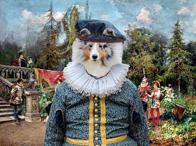 Painting - Shetland Sheepdog Art Canvas Print - Venetian Court, Ministrel Scene by Sandra Sij