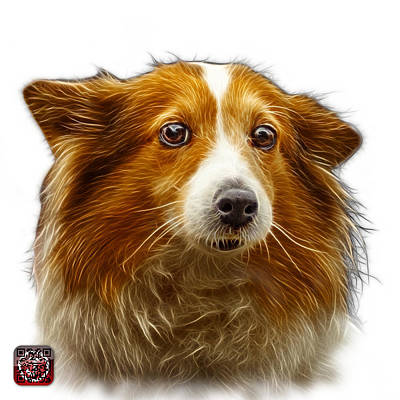 Digital Art - Shetland Sheepdog Dog Art 9973 - Wb by James Ahn