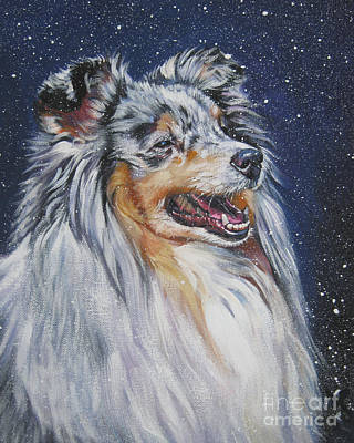 Sheltie Painting - Shetland Sheepdog In Snow by Lee Ann Shepard