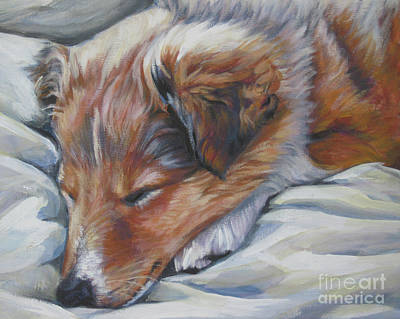 Sleeping Puppy Painting - Shetland Sheepdog Sleeping Puppy by Lee Ann Shepard