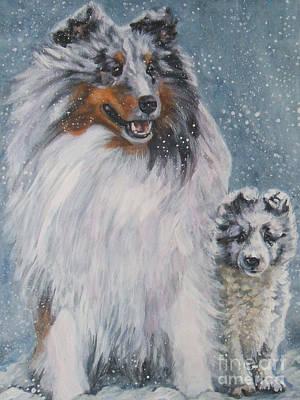 Shetland Sheepdogs In Snow Art Print by Lee Ann Shepard
