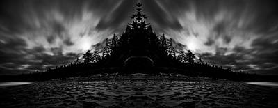 Surrealism Digital Art Rights Managed Images - Shi Shi Beach Black and White Reflection Royalty-Free Image by Pelo Blanco Photo