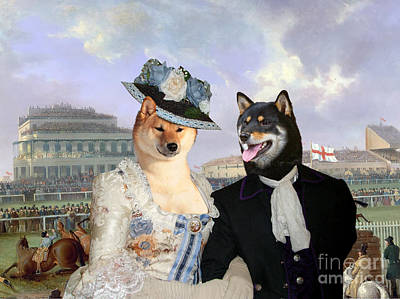 Painting - Shiba Inu Art Canvas Print - National Steeplechase At Aintree by Sandra Sij