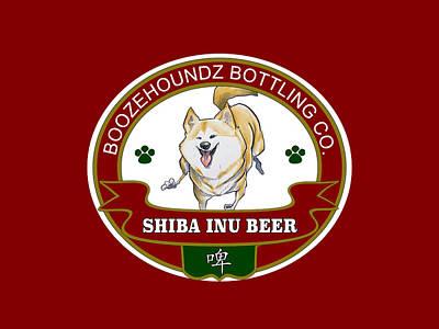 Beer Drawings - Shiba Inu Beer by John LaFree