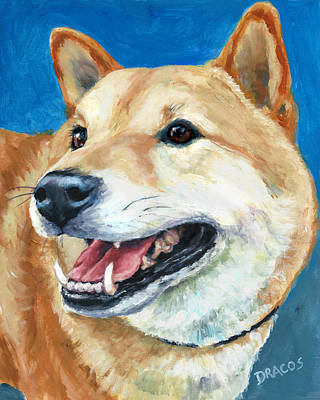Japanese Dog Painting - Shiba Inu On Blue by Dottie Dracos