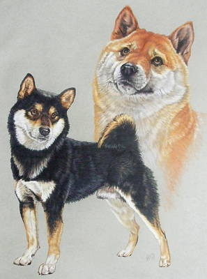 Drawing - Shiba Inu Pair by Barbara Keith