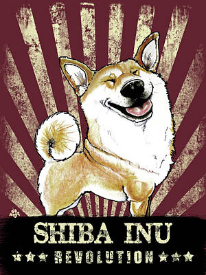 Drawing - Shiba Inu Revolution by John LaFree