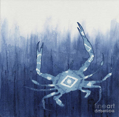 Painting - Shibori Blue 4 - Patterned Blue Crab Over Indigo Ombre Wash by Audrey Jeanne Roberts