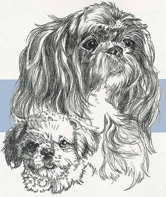 Mixed Media - Shih Poo And Pup by Barbara Keith