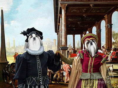 Painting - Shih Tzu Art Canvas Print - Elegant Company On A Palace Garden by Sandra Sij