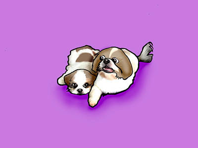 Brothers And Sisters Digital Art - Shih Tzu Cartoon by Dave Ell