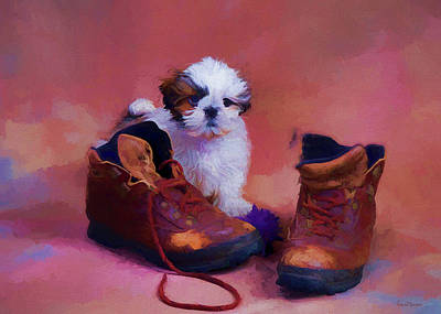 Painting - Shih Tzu Puppy And Boots - Painting by Ericamaxine Price